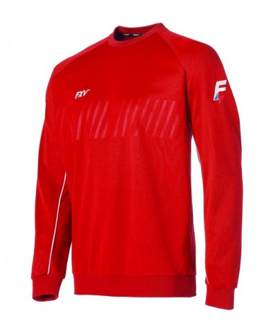 Sweat col rond action rouge